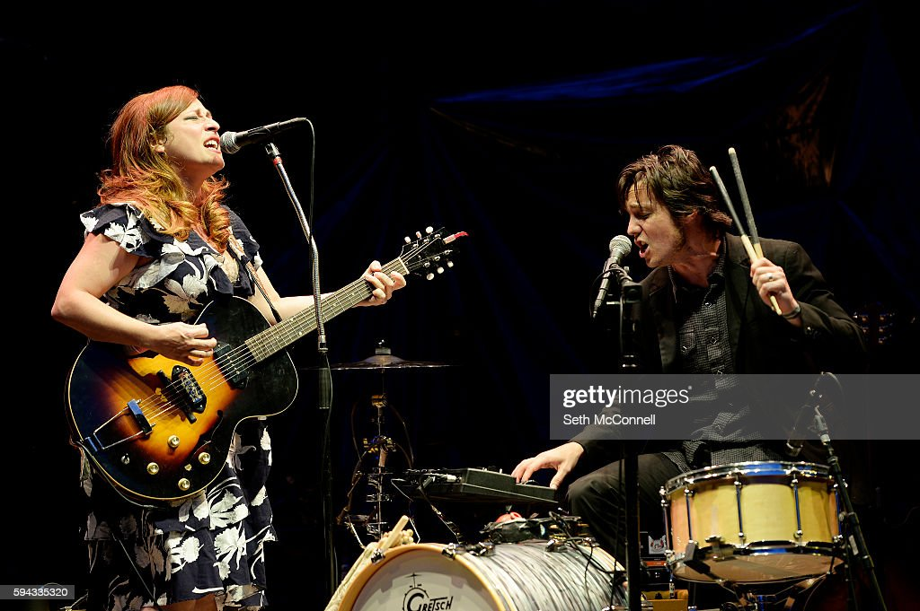 Cary Ann Hearst and Michael Trent of Shovels and Rope perform at Red Rocks Amphitheatre in Morrison Colorado on August 21 2016
