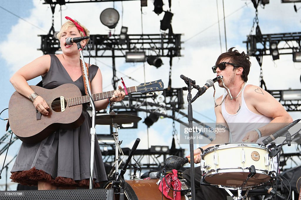 Cary Ann Hearst and Michael Trent of Shovels & Rope perform during the 2013 Forecastle Festival at Waterfront Park on July 13, 2013 in Louisville, Kentucky.
