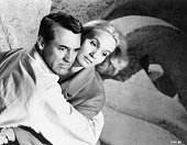 Cary Grant as Roger Thornhill and Eva Marie Saint as Eve Kendall in Alfred Hitchcock's 1959 thriller North by Northwest