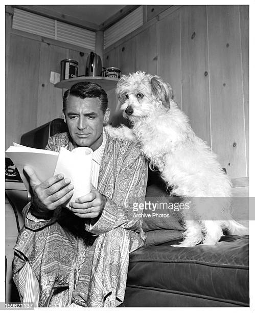 Cary Grant reads his script with a dog on set of the film 'Dream Wife' 1953