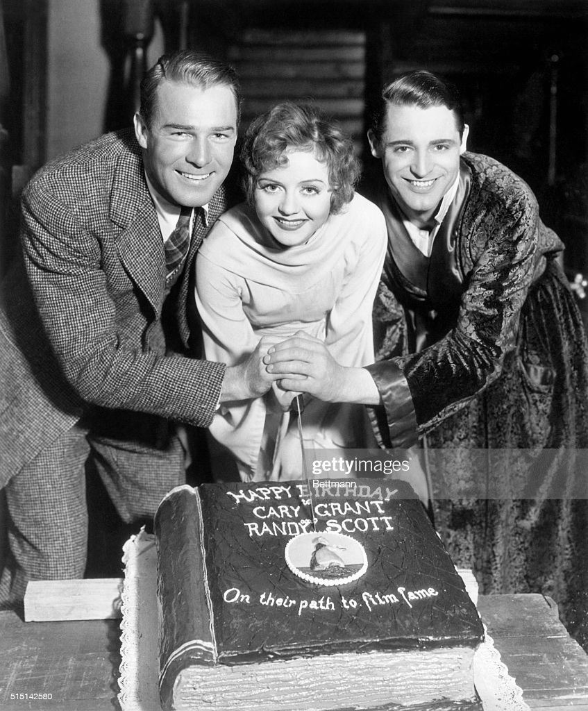 Cary Grant was born on January 18th and Randolph Scott his pal came into the world just five days later so Nancy Carroll gave them both a great big...