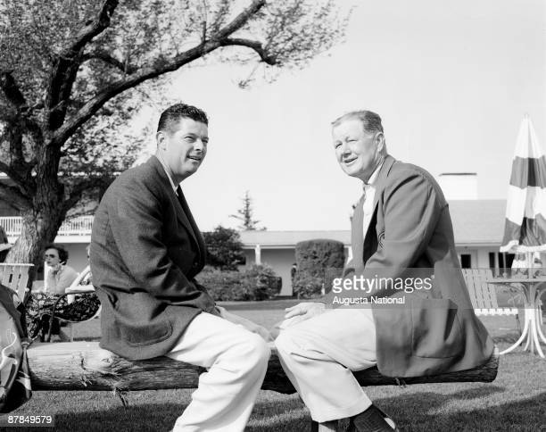 Cary Middlecoff and Byron Nelson share a bench during the 1956 Masters Tournament at Augusta National Golf Club in April 1956 in Augusta Georgia