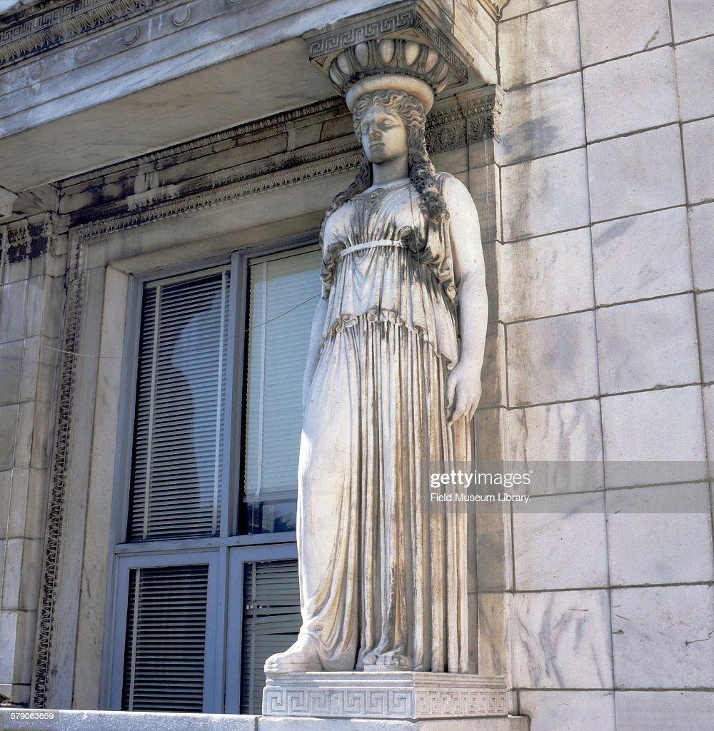 Caryatid statue on exterior outside of Field Museum showing erosion damage from Acid Rain Artist Henry Hering