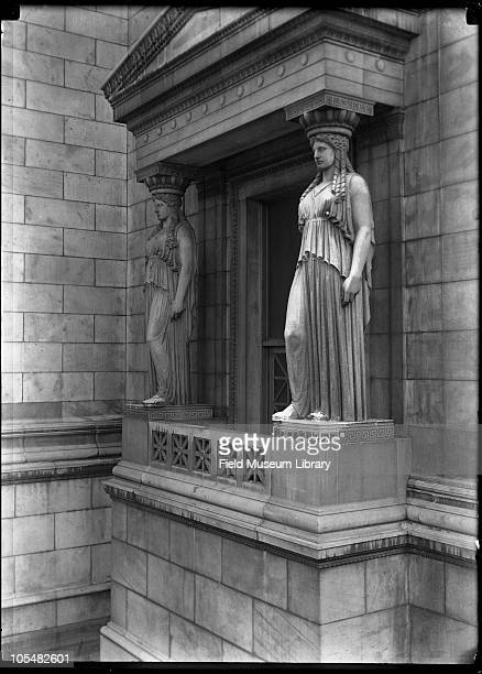 Caryatid statues and porch Artist Henry Hering Field Museum of Natural History exterior Chicago Illinois 1920