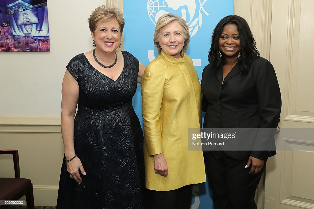 Caryl Stern, Hillary Clinton, and Octavia Spencer attend the 12th annual UNICEF Snowflake Ball at Cipriani Wall Street on November 29, 2016 in New York City.