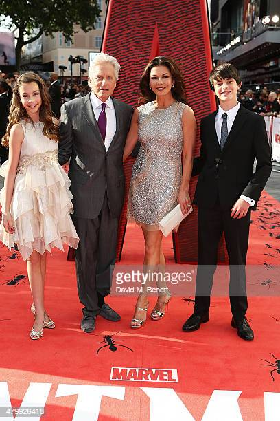 Carys Douglas Michael Douglas Catherine Zeta Jones and Dylan Douglas attend the European Premiere of Marvel's 'AntMan' at Odeon Leicester Square on...