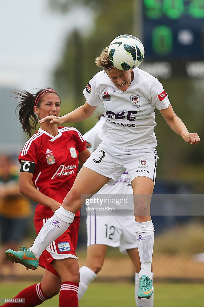 Carys Hawkins of Perth shoots at goal during the round 12 W-League match between Adelaide United and the Perth Glory at Burton Park on January 12, 2013 in Adelaide, Australia.