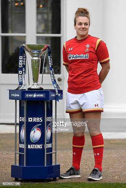 Carys Phillips Captain of Wales Women poses with The Six Nations Trophy during the 2017 RBS Six Nations launch at The Hurlingham Club on January 25...