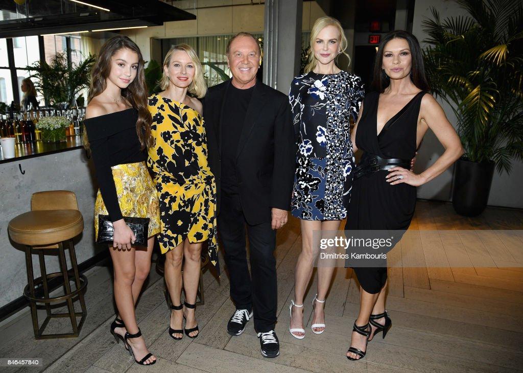 Carys Zeta Douglas, Naomi Watts, Michael Kors, Nicole Kidman and Catherine Zeta-Jones pose backstage at Michael Kors Collection Spring 2018 Runway Show at Spring Studios on September 13, 2017 in New York City.