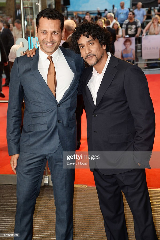 Cas Anvar and Narveen Andrews attend the world premiere of 'Diana' at The Odeon Leicester Square on September 5, 2013 in London, England.