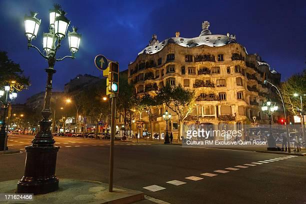 Casa Mila at night, Barcelona, Spain