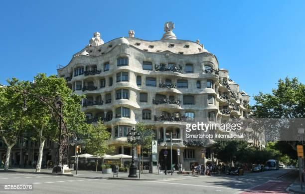 Casa Mila (aka La Pedrera) facade in Barcelona, Spain a UNESCO heritage site by Antonio Gaudi