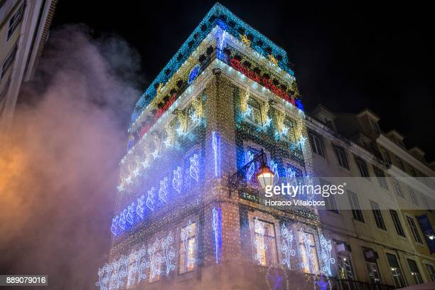 'Casa Portuguesa do Pastel de Bacalhau' is seen decorated with Christmas and New Year light displays in Rua Augusta on December 9 2017 in Lisbon...