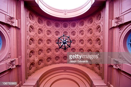 A vaulted pink ceiling of the Neoclassical portico at the Casa Rosada.