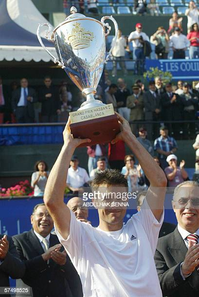 Italian Daniele Bracciali holds his trophy 30 April 2006 during ATP Casablanca Open clay court tournament Daniele Bracciali won over Chilean Nicolas...