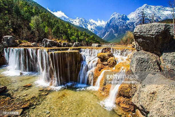 Cascaded waterfall and Jade Dragon Snow Mountain