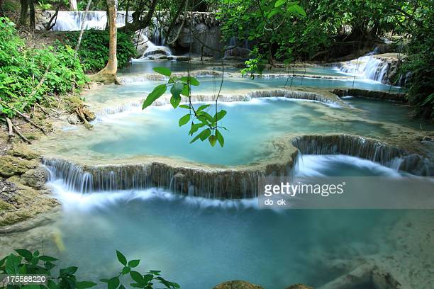 Cascading turquoise water