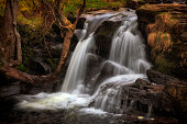 One of a series of closely connected waterfalls at Blaen y Glyn, near Merthyr Tydfil in the South Wales valleys, UK