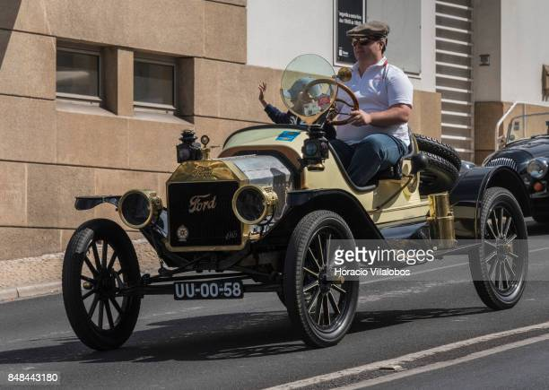 Cascais Classic Motor Show participants drive a classic 1915 Ford on Avenida Marginal on September 17 2017 in Estoril Portugal More than 1000...