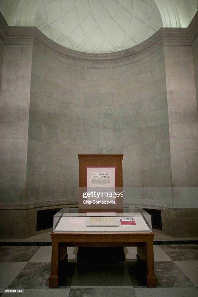A case displays two hand-written pages from President George Washington's inaugural address that are on exhibit at the National Archives January 15, 2013 in Washington, DC. The first president of the United States, Washington delivered the eight-page address before a meeting of Congress April 30, 1789 in New York City, the temporary seat of the newly-formed federal government.