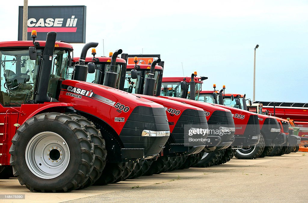 Case IH agricultural equipment is displayed for sale at a Ritchie Implement Inc. location in Darlington, Wisconsin, U.S., on Friday, July 13, 2012. Case IH offers agricultural equipment, financial services, as well as parts and service support for farmers and commercial operators through a network of dealers and distributors. Photographer: Tim Boyle/Bloomberg via Getty Images