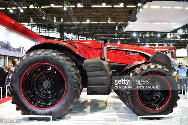 A Case IH Autonomous Concept Vehicle is displayed during the SIMA Paris International agribusiness show at the Parc des Expositions Paris Nord in...