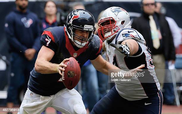 Case Keenum of Houston Texans avoids the rush of Chris Jones of the New England Patriots in the second half of the game at Reliant Stadium on...