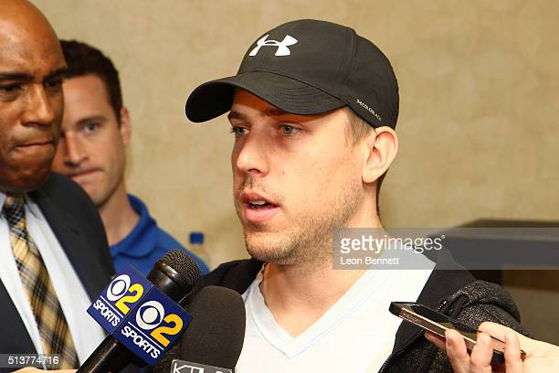 Case Keenum of the Los Angeles Rams attends the Los Angeles Rams Media Availability on March 4 2016 in Manhattan Beach California