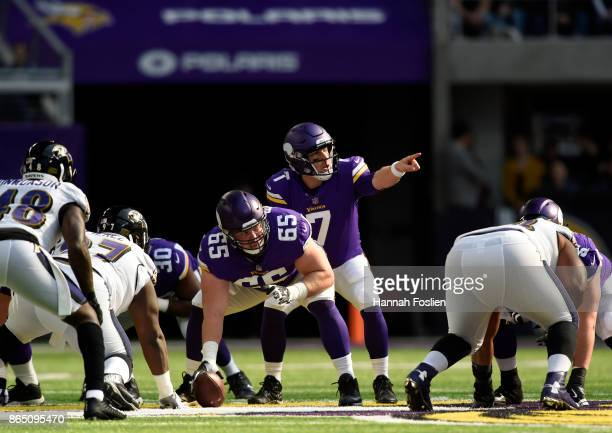 Case Keenum of the Minnesota Vikings calls a play at the line of scrimmage in the first half of the game agains the Baltimore Ravens on October 22...