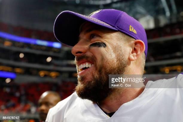 Case Keenum of the Minnesota Vikings celebrates beating the Atlanta Falcons at MercedesBenz Stadium on December 3 2017 in Atlanta Georgia