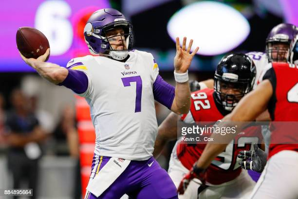 Case Keenum of the Minnesota Vikings throws a pass during the first half against the Atlanta Falcons at MercedesBenz Stadium on December 3 2017 in...