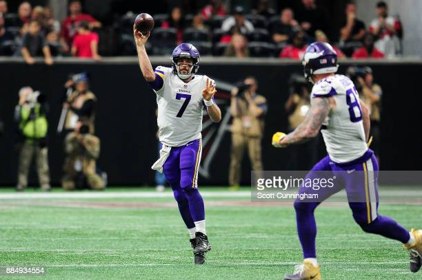 Case Keenum of the Minnesota Vikings throws a pass during the second half against the Atlanta Falcons at MercedesBenz Stadium on December 3 2017 in...