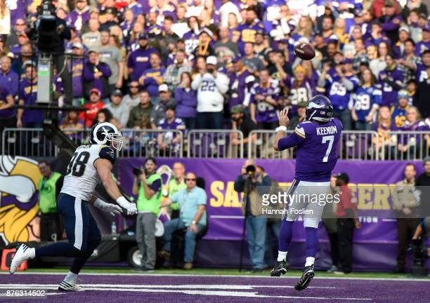 Case Keenum of the Minnesota Vikings throws the ball in the first half of the game against the Los Angeles Rams on November 19 2017 at US Bank...