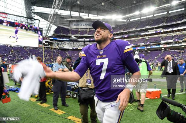 Case Keenum of the Minnesota Vikings tosses his towel into the stands after defeating the Green Bay Packers on October 15 2017 at US Bank Stadium in...