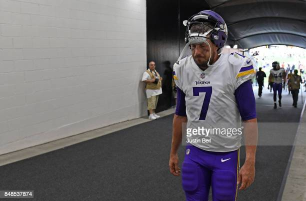 Case Keenum of the Minnesota Vikings walks off the field at the conclusion of the Pittsburgh Steelers 269 win over the Minnesota Vikings at Heinz...