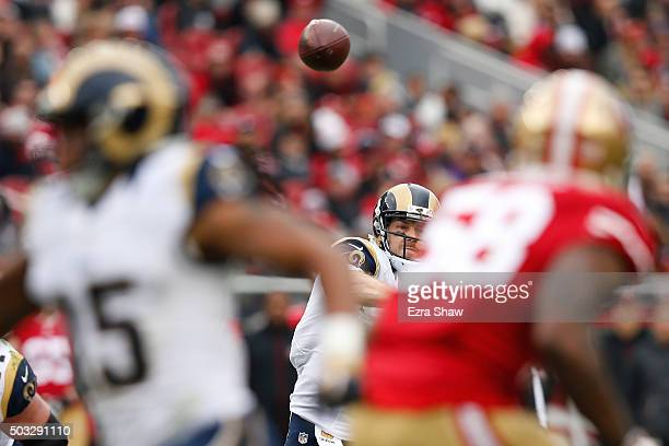 Case Keenum of the St Louis Rams attempts a pass against the San Francisco 49ers during their NFL game at Levi's Stadium on January 3 2016 in Santa...