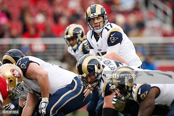 Case Keenum of the St Louis Rams goes under center against the San Francisco 49ers during their NFL game at Levi's Stadium on January 3 2016 in Santa...
