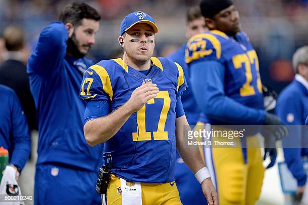 Case Keenum of the St Louis Rams watches from the sideline in the first quarter against the Arizona Cardinalsat the Edward Jones Dome on December 6...
