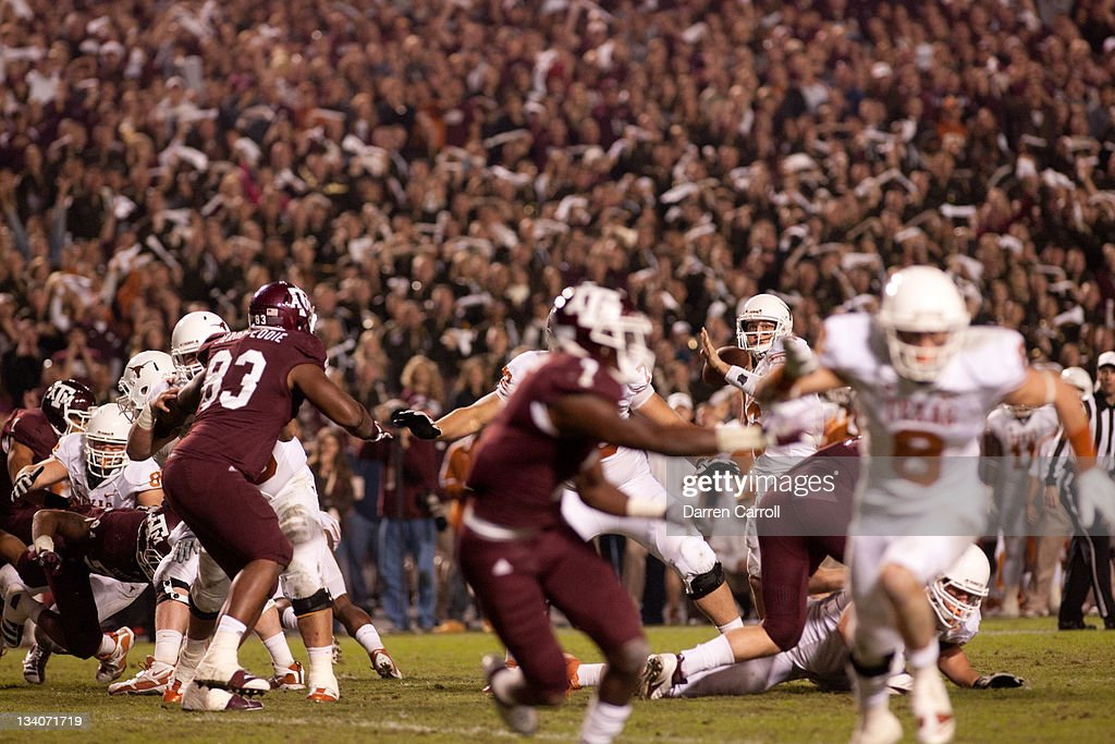 Case McCoy #6 of the Texas A&M Aggies looks to pass against the Texas Longhorns in the second half of a game at Kyle Field on November 24, 2011 in College Station, Texas.