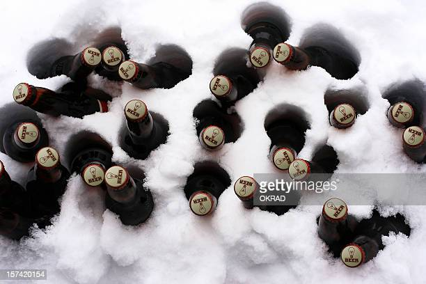 Case of beer in the snow