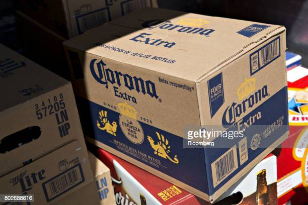 A case of Constellation Brands Inc Corona beer sits in a truck during a delivery outside a bar in Ottawa Illinois US on Tuesday June 27 2017...