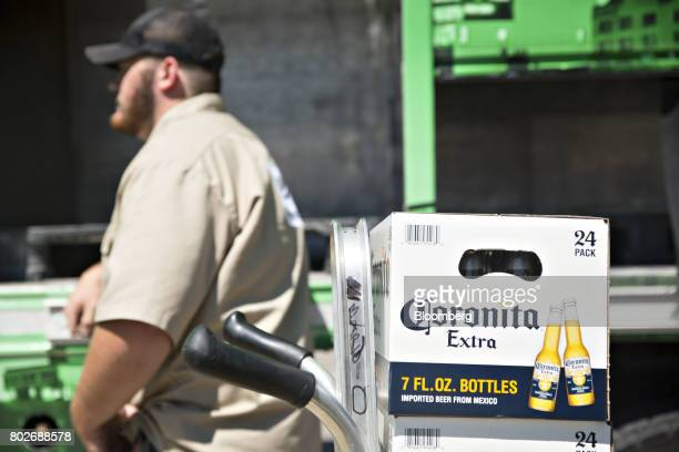 A case of Constellation Brands Inc Corona beer sits on a truck during a delivery in Ottawa Illinois US on Tuesday June 27 2017 Constellation Brands...