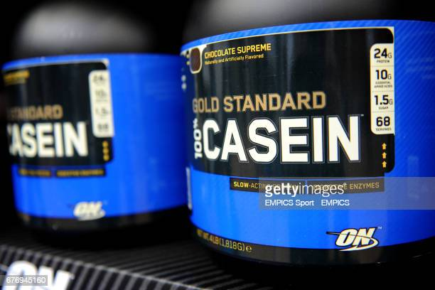 Casein Protein shakes on display on Day two of the Rugby Expo at the RHS Lawrence Hall Westminster
