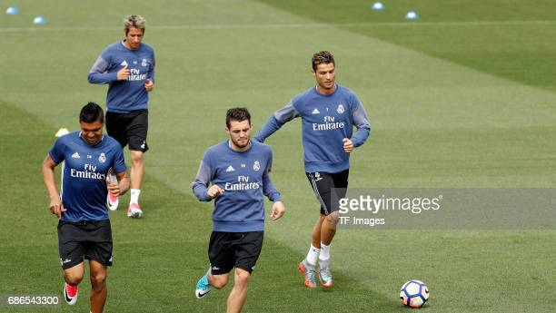 Casemieo of Real Madrid Fabio Coentrao of Real Madrid Kovacic of Real Madrid and Cristiano Ronaldo of Real Madrid warms up during a training session...