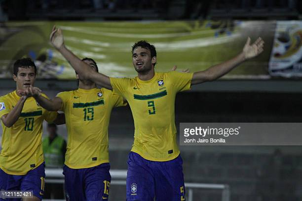 Casemiro from Brazil celebrates a scored goal during a quarter finals match between Spain and Brazil as part of the U20 World Cup at the Hernan...