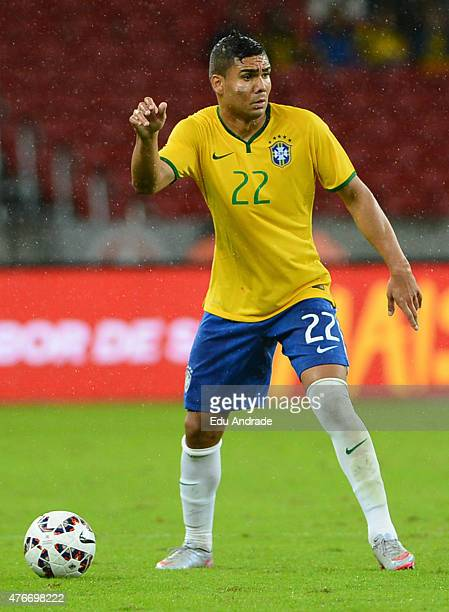 Casemiro of Brazil plays the ball during the international friendly match between Brazil and Honduras at Beira Rio Stadium on June 10 2015 in Porto...