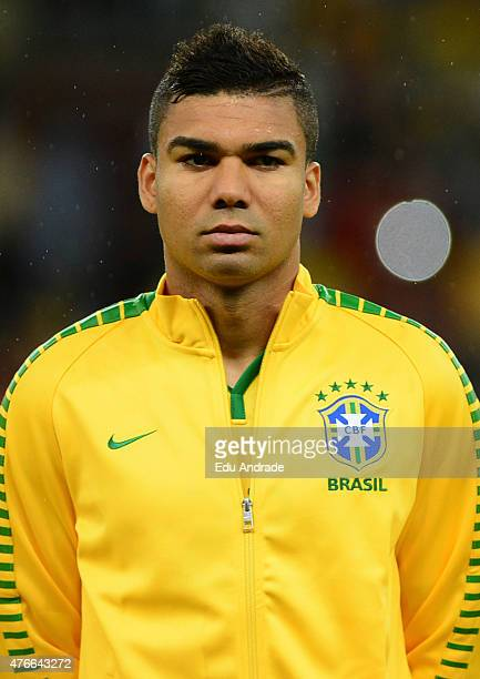 Casemiro of Brazil stands for the national anthem prior to the international friendly match between Brazil and Honduras at Beira Rio Stadium on June...