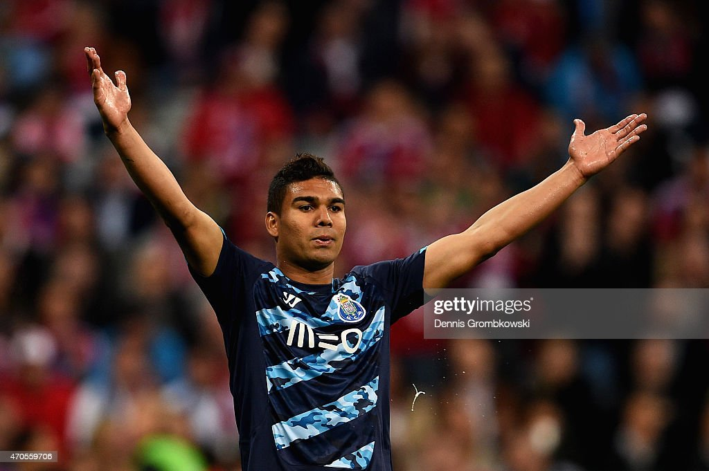 <a gi-track='captionPersonalityLinkClicked' href=/galleries/search?phrase=Casemiro&family=editorial&specificpeople=7150894 ng-click='$event.stopPropagation()'>Casemiro</a> of FC Porto reacts during the UEFA Champions League Quarter Final Second Leg match between FC Bayern Muenchen and FC Porto at Allianz Arena on April 21, 2015 in Munich, Germany.