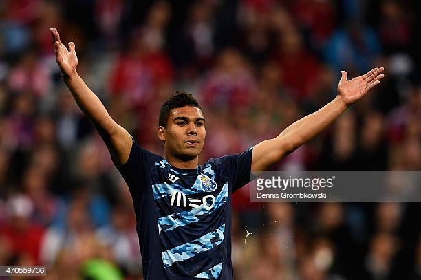 Casemiro of FC Porto reacts during the UEFA Champions League Quarter Final Second Leg match between FC Bayern Muenchen and FC Porto at Allianz Arena...