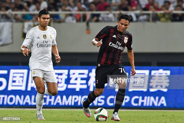 Casemiro of Real Madrid and Carlos Bacca of AC Milan compete for the ball during the International Champions Cup football match between AC Milan and...